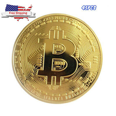45Pcs Gold Bitcoin Commemorative Collectors Coin Bit Coin is Gold Plated Coin