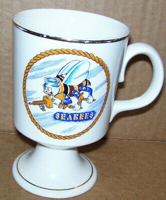 Vintage Navy Seabees Coffee Cup Mug With Gold Trim