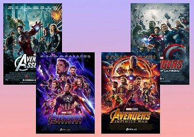 AVENGERS: Endgame, Infinity War, Assemble, Age of Ultron  A5 A4 A3 Film Posters