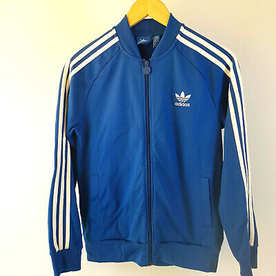 Adidas Vintage Unisex Blue White Zipup Tracksuit UK 13-14YRS Very Good Condition