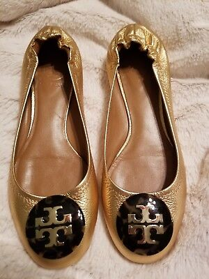 cdcdeb5ef6a1 AUTH TORY BURCH Reva Sequins Leather Ballet Flat Shoes in Copper ...