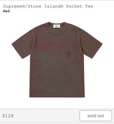908bd6588a01 Supreme Stone Island Pocket Tee SS19 Red XL Extra Large. In Hand. New.