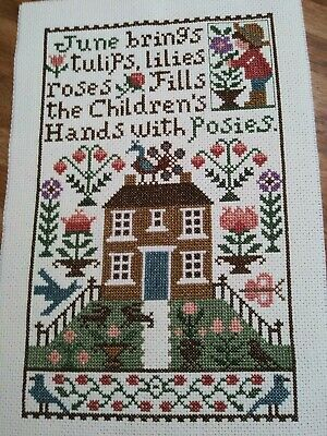 Completed Cross Stitch - Prairie Schooler June Sampler