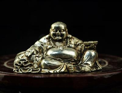 chinese old  copper-plating silver hand engraving Buddha statue a01