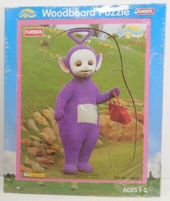 491fdf928fa8 SEALED Vintage TELETUBBIES TINKY WINKY Playskool Wood Board Frame Tray  Puzzle