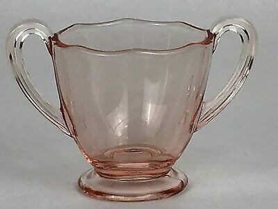 "Vintage Antique Small Depression Glass Pink Handled Bowl 2 1/2"" Opening 2 3/4"" H"