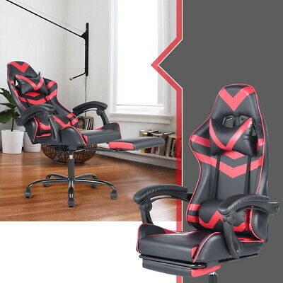 Ergonomic Swivel Gaming Chair Racing Style Computer Chair Recliner with Footrest
