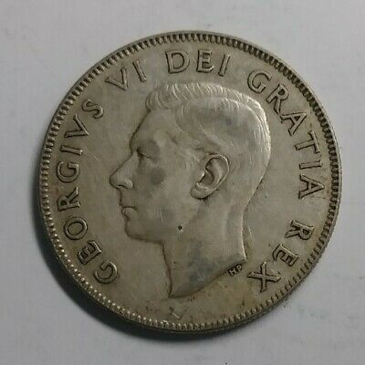 1950 Canadian Silver Half Dollar 50 Cent Coin Ungraded With Design Die Crack