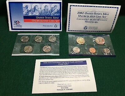 2002 Philadelphia Mint Set 10 Brilliant Uncirculated US Coins ~ Sealed from Mint