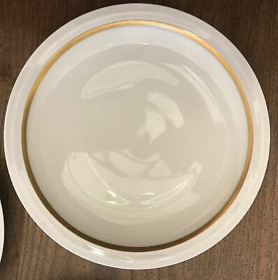 """3 Theodore Haviland Limoges France ASTORIA 8.5"""" Luncheon Plates White Gold Trim"""