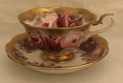 Royal Albert Heavy Gold Cup & Saucer Summer Bounty Series Ruby Vintage