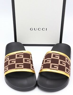 ef8f9add2f2 NEW  370 GUCCI Pursuit GG Print Gold Brown Sandals   Slides Size 12 ...