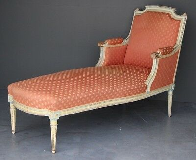 Antique French provincial Louis XVI chaise lounge settee sofa carved painted