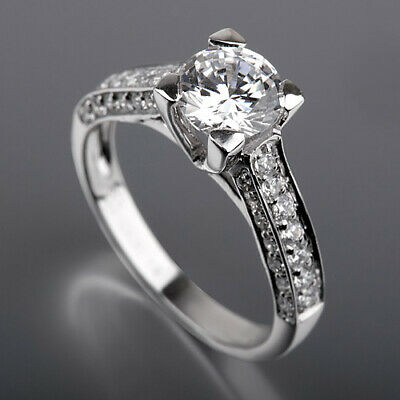 Diamond Natural Diamond Ring Vs1 D Flawless 18k White Gold 8 Prong 1.41 Ct Colorless Fine Jewelry