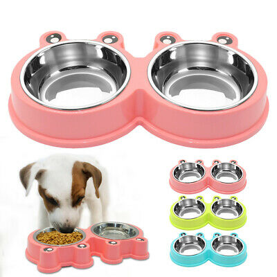 Anti Slip Dog Double Bowl Stainless Steel Pet Puppy Cat Food Water Feeder Dish