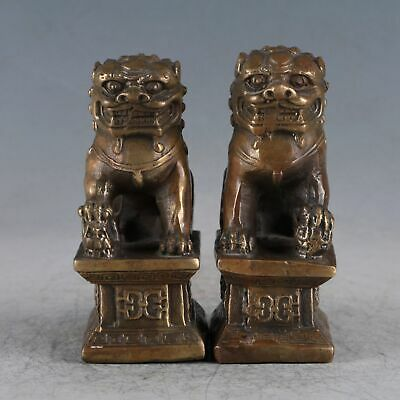 Chinese Exquisite Copper A Pair Of Lions Statue HT0021