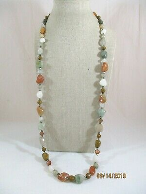 """Multi-Color Stone Beaded Screw Close Necklace Orange Green Brown White 32"""" Long"""