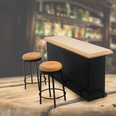 Miniature Furniture Taproom Bar Counter + Two Stools For 1:12 Dollhouse Decor US