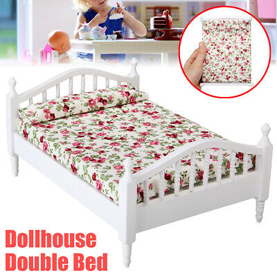 Miniature Bedroom Furniture Wooden Floral Double Bed For 1:12 Dollhouse Decor US