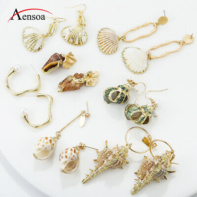 Fashion Women Natural Pearl Shell Conch Pendant Statement Dangle Drop Earrings