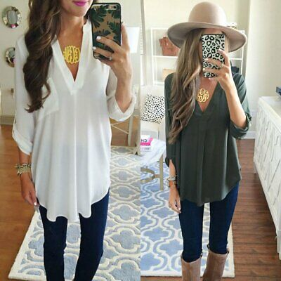 Women V Neck Loose Tops Oversize Solid Long Sleeve Casual Blouse T-Shirt Tee AU