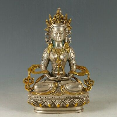 Chinese Silver Copper Gilt Hand Carved Medicine Buddha Statue  MY1152