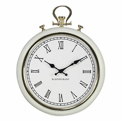 White Metal and Glass Pocket Style Wall Clock - Classic pocket watch design