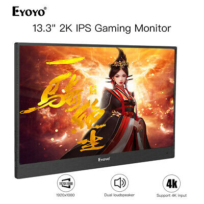 """Ultra-thin 13"""" 2K IPS Gaming Monitor With Leather Case for Raspberry Pi Xbox One"""