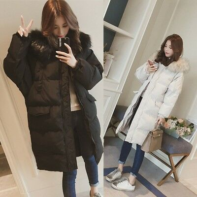 Womens Thicken Down Cotton Hooded Quilted Parka Oversize Loose Jacket Coat E974