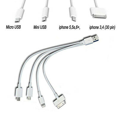 20cm 4 in 1 Multi USB Charger Charging Cable 30 Pin 8Pin Mini USB & Micro UBS US