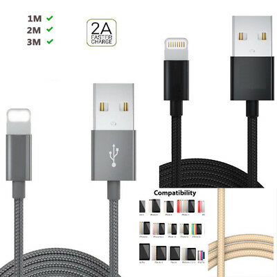 For iPhone 7 Plus 8 X Lightning USB Charger&Date Cable Heavy Duty Nylon BRAIDED