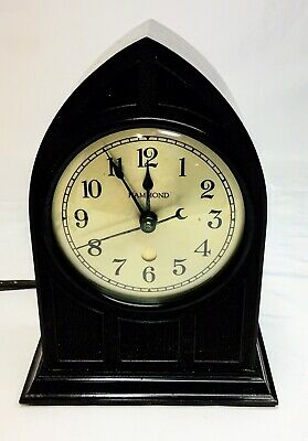 Vtg HAMMOND Mantel Clock Electric Gothic Cathedral Synchronous RAVENSWOOD