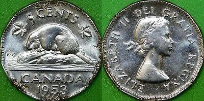 1953 Canada No Shoulder Fold and Far Maple Leaf 5 Cents Corroded Coin