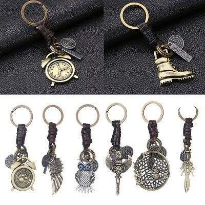 Keychain ​Owl Wolf Tooth Wing Sword Alarm Clock Metal Keyring Key Fob Chain Gift