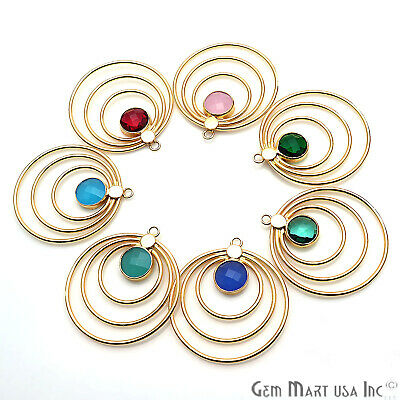 Triple Hoop Gemstone Pendant Gold Plated Charm Connector Earring Finding 40x36mm