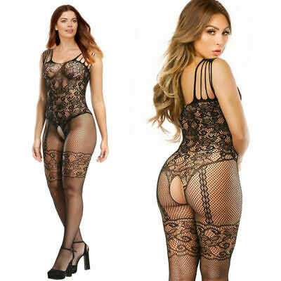 Lady Fishnet Lace Crotchless Full Bodystocking Lingerie Bodysuit Corset Pattern