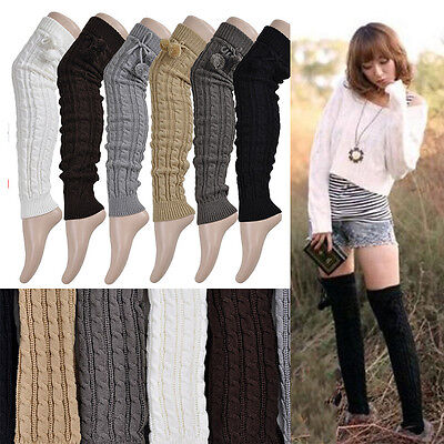 THE BEST Leg Warmers Women Knit Thick Long Over Knee High Hosiery Socks、New