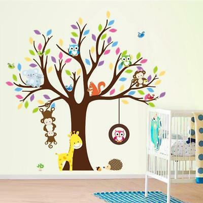 Jungle Zoo Monkey Tree Owl Birds Animal Wall Removable Sticker Decals Kids TO