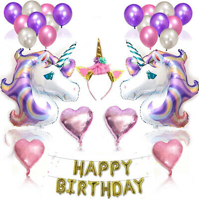 Large Happy Birthday Self Inflating Banner Unicorn Foil Balloon Party Decoration