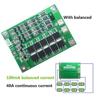 4S 40A 18650 Charging Li-ion Lithium Battery BMS Protection Board W/ Balance