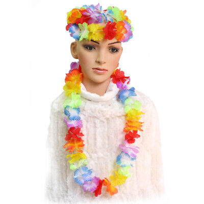10x Hawaiana Collana Ghirlanda Fiori Finti Hawaii Feste Party Estivo a Tema BHU