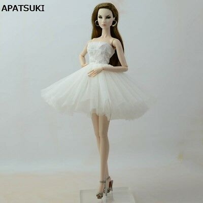 White Short Ballet Dress For 11.5inch Doll Evening Dresses Clothes For 1/6 Doll