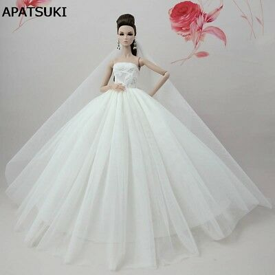 "Pure White Doll Dress For 11.5"" Doll Clothes Evening Gown Clothes Wedding Dress"