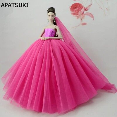 "Pink Patchwork Doll Dress For 11.5"" Doll Clothes Evening Gown Wedding Dresses"