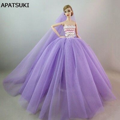 "Purple Patchwork Romantic Doll Dress For 11.5"" Doll Clothes Wedding Dress +Veil"