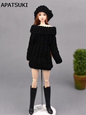 "Black Handmade Knitted Woven Sweater Dress For 11.5"" Doll Clothes Tops Coat Toy"