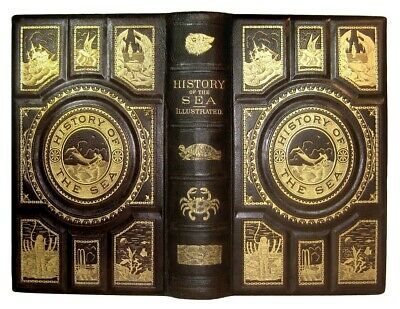 HISTORY OF THE SEA 1880 OCEAN MARITIME Ship SHIPWRECKS PIRATE LEATHER ANTIQUE