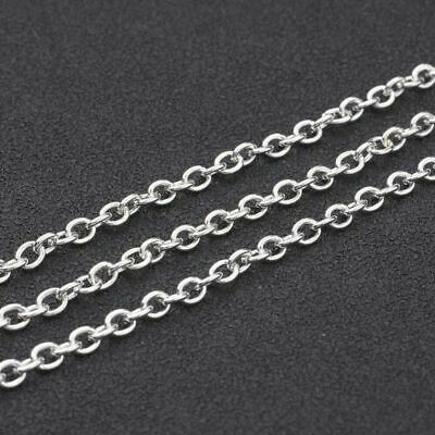 Silver cable jewellery making chain 2m DIY 3x2mm with lobster clasps jumprings