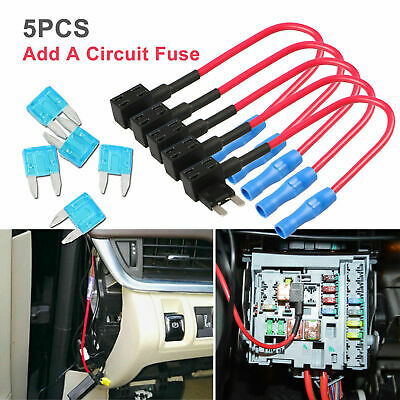 5pcs Car Add-a-circuit Fuse TAP Adapter Kit In-line Mini ATM APM Blade Fuse 12V
