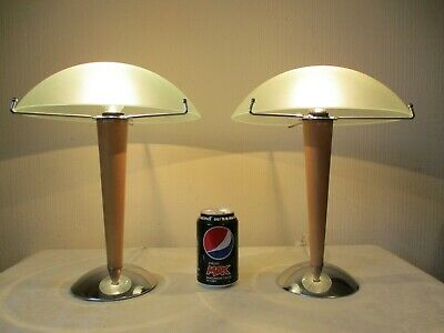 Pair Of Art Deco Style Mushroom Table Lamps With Glass Shades